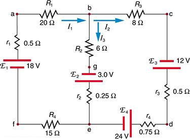 The diagram shows a complex circuit with four voltage sources: E sub one, E sub two, E sub three, E sub four and several resistive loads, wired in two loops and two junctions. Several points on the diagram are marked with letters a through g. The current in each branch is labeled separately.