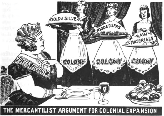 A political cartoon shows a formal woman labeled Mother Country seated at a dining table being served gold and silver, foodstuffs, and raw materials from servants each labeled Colony. The bottom of the cartoon reads,