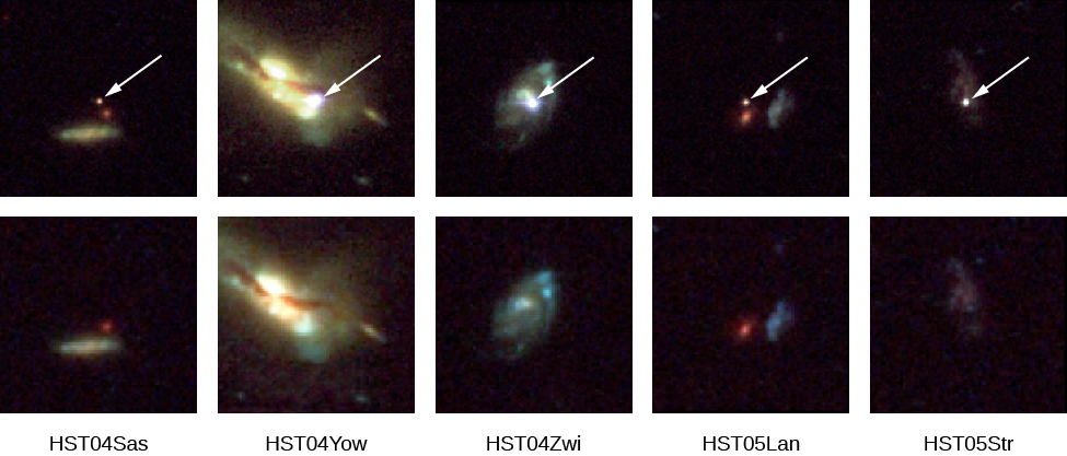 Images of Supernovae in Other Galaxies. The top row of images is centered on the supernova observed in each galaxy, indicated with a white arrow. The bottom row shows the same galaxies before (or after) the explosion. From left to right are the galaxies: HST04Sas, HST04Yow, HST04Zwi, HST05Lan and HST05Str.