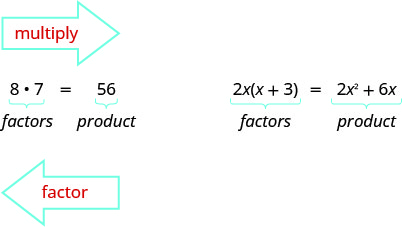 8 times 7 is 56. Here 8 and 7 are factors and 56 is the product. An arrow pointing from 8 times 7 to 56 is labeled multiply. An arrow pointing from 56 to 8 times 7 is labeled factor. 2x open parentheses x plus 3 close parentheses equals 2x squared plus 6x. Here the left side of the equation is labeled factors and the right side is labeled products.
