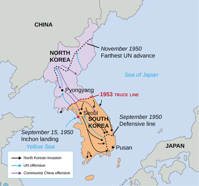 "The map shows the advancement of North Korean, UN, and Communist China forces. North Korean forces move towards Seoul and advance all the way to the southeastern tip of South Korea. There is a line drawn around Pusan labeled ""September 1950, Defensive Line."" data-media-type="