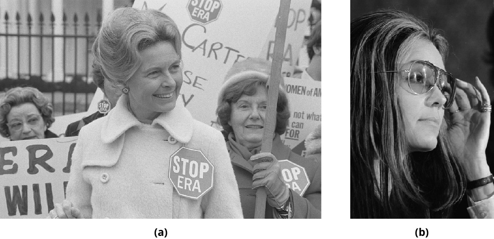 Figure (a) shows a close up photograph of Gloria Steinem. Figure (b) shows Phyllis Schlafly standing in front of a protesting crowd and wears a pin that says