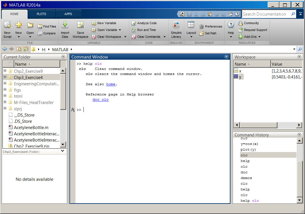 what is matlab the output of >> help clc command