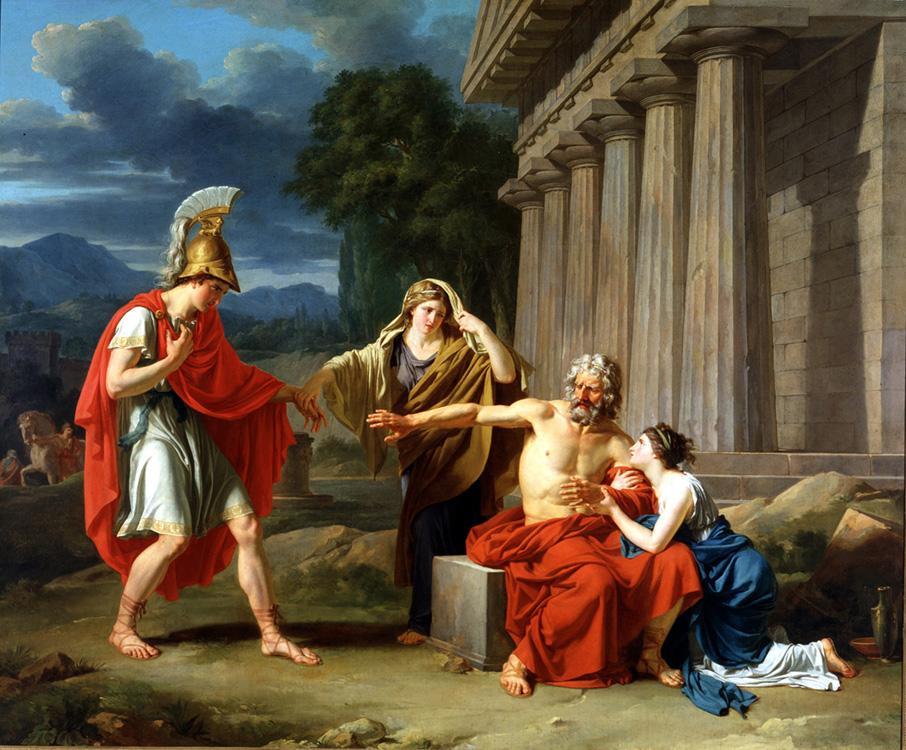 Painting depicting Oedipus and three other ancient Greek figures.