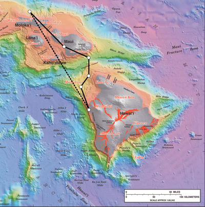 Some Hawaiian Islands like Kauai Oahu, Molokai, Lanai, Maui, Kahoolawe, and Hawaii are shown. On the scale map of Hawaiian Islands the path of a journey is shown moving from Hawaii to Molokai. The path of the journey is turning at different angles and finally reaching its destination. The displacement of the journey is shown with the help of a straight line connecting its starting point and the destination.