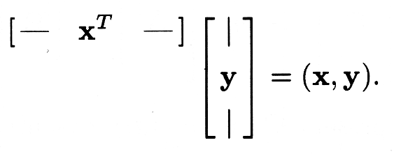 Figure three shows how multiplying the transposed x-column vectors with the y-vectors results in a single vector (x, y) product.
