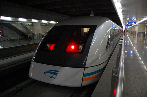 Front view of a subway train, the maglev train.