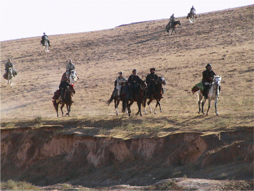 Soldiers ride horses in the Dari-a-Souf Valley in Afghanistan.