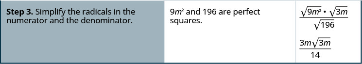 """The third row says, """"Step 3. Simplify the radicals in the numerator and the denominator."""" Then it says, """"9 m squared and 196 are perfect squares."""" It then shows the square root of 9 m squared time the square root of 3 m over the square root of 196. It then shows 3 m times the square root of 3 m over 14."""