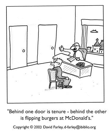 A cartoon of someone saying 'Behind one door is tenure, behind the other is flipping burgers ad McDonalds.