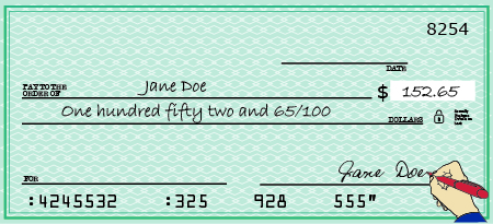 An Image Of A Check Is Shown The Made Out To Jane Doe