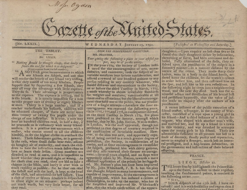 A newspaper titled The Gazette of the United States.