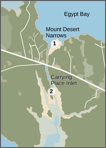 This is a colored aerial picture pointing out a land mass that separates two coastal estuarine habitats, the mud flats of Egypt Bay and the Mount Desert Narrows. The figures mark two locations on the map, the Mount Desert Narrow and the Carrying Place Inlet, where the water transport has been hindered by a dam at the Carrying Place Inlet.