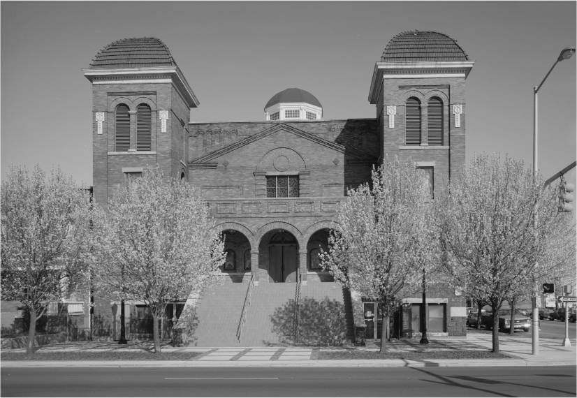 Photograph of 16th Street Baptist Church on a downtown corner.
