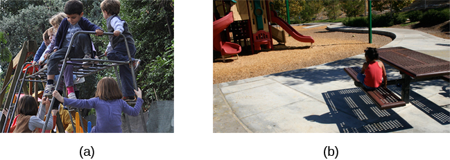 Photograph A shows several children climbing on playground equipment. Photograph B shows a child sitting alone at a table looking at the playground.