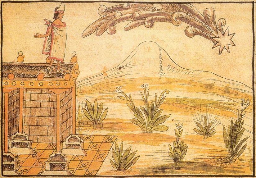 An image shows Montezuma standing on a building's roof while a large comet is shown overhead.