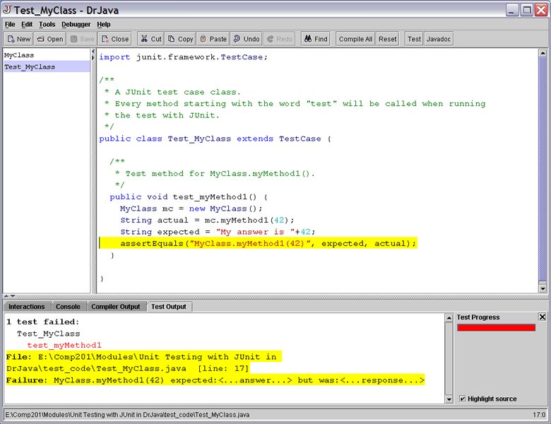 Unit Testing with JUnit in DrJava - Principles of Object
