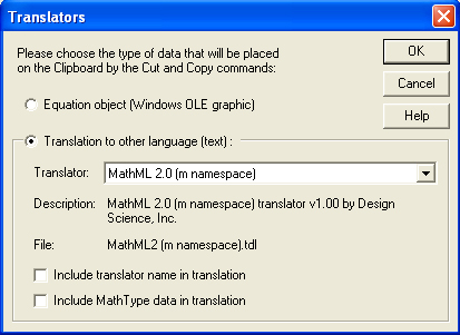 Translators dialog box.