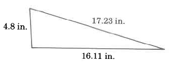A triangle with sides of length 4.8in, 16.11in, and 17.23in.