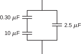 Figure shows capacitors of value 0.3 micro Farad and 10 micro Farad connected in series with each other. These are connected in parallel with a capacitor of value 2.5 micro Farad.