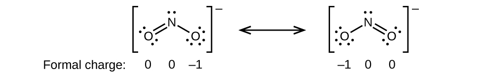 """[Two Lewis structures are shown, with brackets surrounding each with a superscripted negative sign and a double ended arrow in between. The left structure shows a nitrogen atom with one lone pair of electrons single bonded to an oxygen atom with three lone pairs of electrons and double bonded to an oxygen atom with two lone pairs of electrons. The symbols and numbers below this structure read """"open parenthesis, 0, close parenthesis, open parenthesis, 0, close parenthesis, open parenthesis, negative 1, close parenthesis. The right structure appears as a mirror image of the left and the symbols and numbers below this structure read """"open parenthesis, negative 1, close parenthesis, open parenthesis, 0, close parenthesis, open parenthesis, 0, close parenthesis.]"""