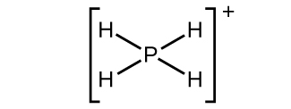 This Lewis structure shows a phosphorus atom single bonded to four hydrogen atoms. The structure is surrounded by brackets and has a superscript positive sign outside the brackets.