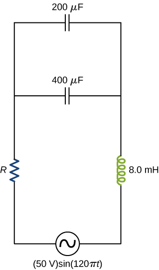 Figure shows a circuit with an AC source of 50 V, sine 120 pi t. This is connected to an inductor of 8 mH, a capacitor of 400 mu F and a resistor R. Another capacitor is connected in parallel with the first one. The value of this is 200 mu F.