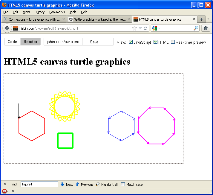 Turtle graphics with the HTML5 canvas