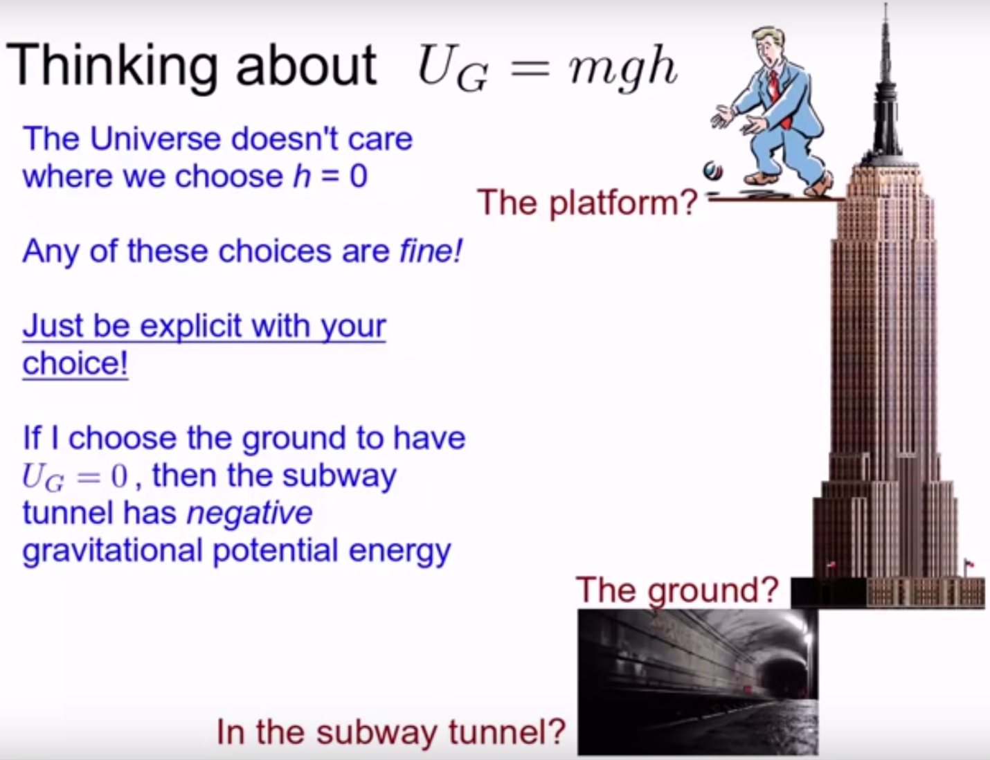 Where to put the zero of gravitational potential energy? The top of a building? The ground? In the subway below? The choice is arbitrary.