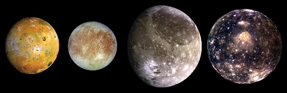 The Moons of Jupiter. The four Galilean satellites are show to scale in this image. From left to right: Io, Europa, Ganymede and Callisto.