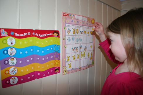A photograph shows a child placing stickers on a chart hanging on the wall.