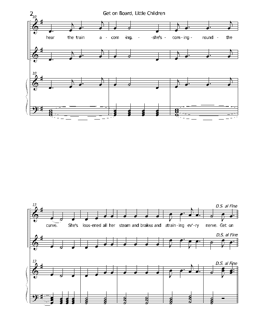 second page of Get on Board, for two voices and piano