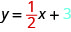 The figure shows the equation y equals one half x, plus 3. The fraction one half is colored red and the number 3 is colored blue.