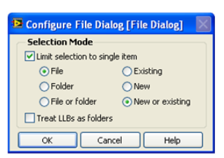 A typical Windows window. It is labeled 'Configure File Dialog [File Dialog]'. Contained in the window is a form with the top option selected 'Limit Selection to single item' below that the options 'File' and 'New or existing'. At the bottom of the form there are the buttons, 'ok', 'concel' and 'Help'.