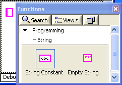 A screen capture of a window titled functions, with buttons to search and view, a hierarchical list beginning with Programming, then String, and two objects, labeled string constant and empty string.