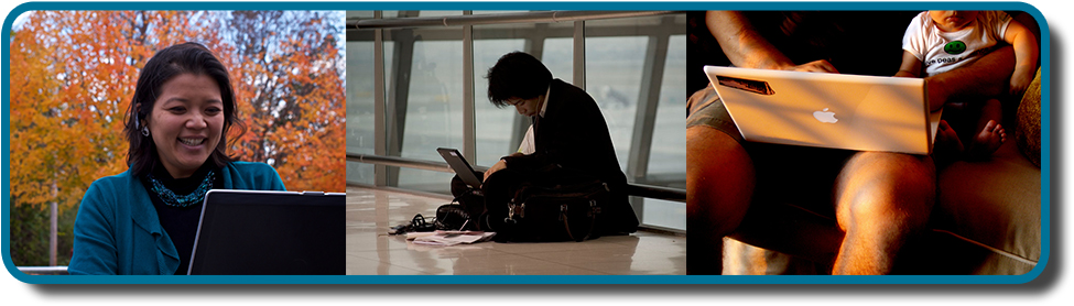 A collage of three color photographs is shown. From left to right appear a person in front of a laptop computer sitting outdoors, a person sitting on the floor with a laptop, and a person sitting on the couch with a small child and a laptop.