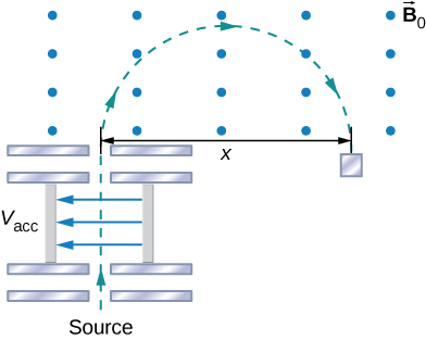 A schematic of the mass spectrometer. The source is at the bottom. Particles are accelerated by the potential difference V acc, then enter a region in which there is only a uniform magnetic field B naught. In that region, the particles follow a clockwise semicircular trajectory of diameter x.