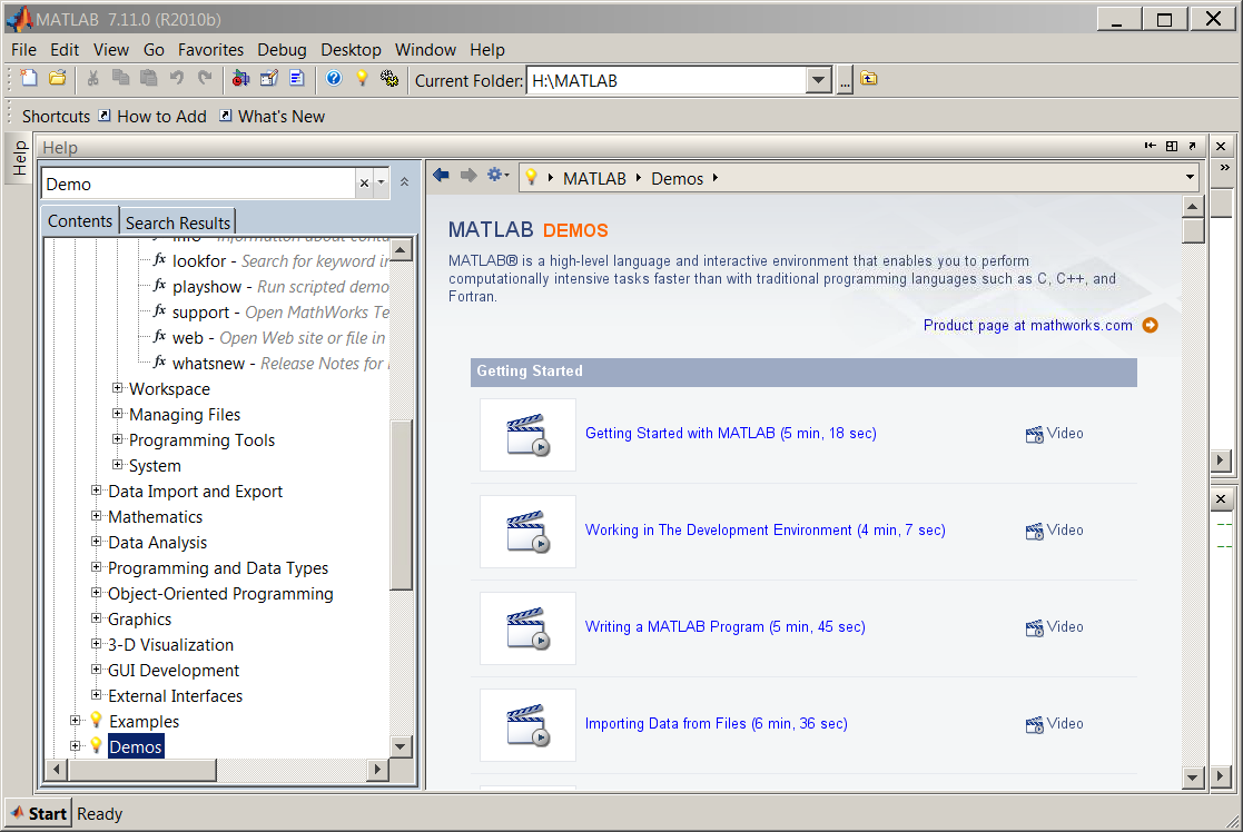 what is matlab openstax cnx built in matlab demos