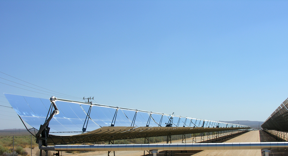 A parabolic trough solar thermal electric power plant located at Kramer Junction, California