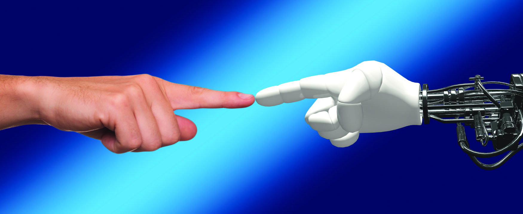 This image shows a human hand on the left and a robot hand on the right. Their index fingers are touching in the middle.