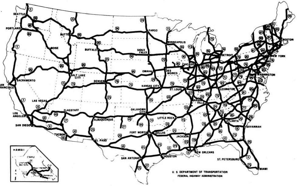 "The map, titled ""The National system of Interstate and Defense Highways: Status of Improvement as of September 30, 1976"" shows interstates at different points of progress crossing the United States, including Hawaii, east to west and north to south. A legend explains the four categories of roads indicated on the map: 1. Completed or Improved and open to traffic: completed to full or acceptable standards, or improved to standards. Adequate for present traffic; built with interstate or other public funds. 2. Major Toll Roads: incorporated in the Interstate System. 3. Under construction. 4. Preliminary status or not yet in progress: Plan preparation and right-of-way acquisition completed or underway on many portions of these sections. The bottom of the map explains the progress of the total 42,500 miles of interstate. Preliminary status or not yet in progress, 679 miles; engineering and right-of-way in progress, 1,908 miles; under basic construction, 2,044 miles; the total 37,869 miles open to traffic include toll, 2,266 miles; adequate present traffic, 1,984 miles; minor improvement is required or underway, 24,242 miles; complete or essentially complete, 9,377 miles."