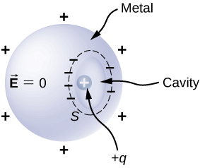 A metal sphere with a cavity is shown. It is labeled vector E equal to zero. There are plus signs surrounding it. There is a positive charge labeled plus q within the cavity. The cavity is surrounded by minus signs.