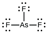 A Lewis structure shows an arsenic atom single bonded to three fluorine atoms. Each fluorine atom has a lone pair of electrons.