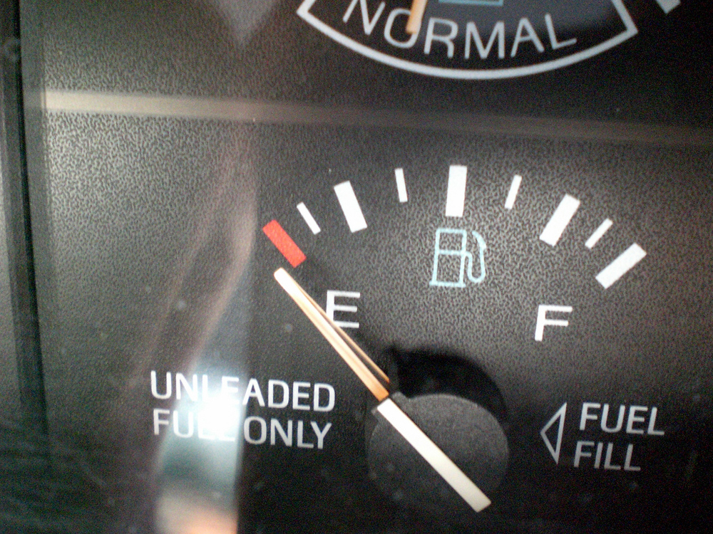 Fuel gauge pointing to empty.