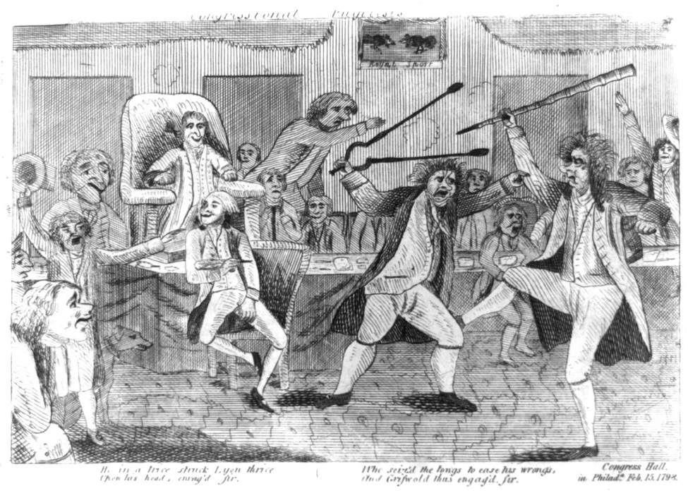 A cartoon depicting a fight between two people, while surrounding people watch.