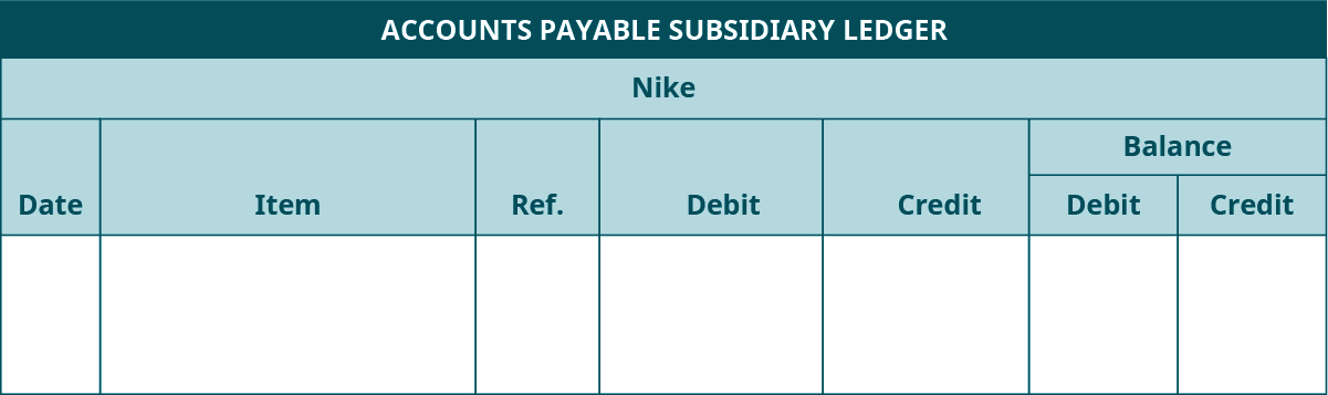 Accounts Payable Subsidiary Ledger template. Seven columns, labeled left to right: Date, Item, Reference, Debit, Credit. The last two columns are headed Balance: Debit, Credit.