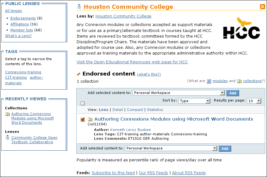 Example of an organizational lens page.