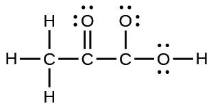 A Lewis structure is shown. A carbon atom is single bonded to three hydrogen atoms and a carbon atom. The carbon atom is single bonded to an oxygen atom and a third carbon atom. This carbon is then single bonded to two oxygen atoms, one of which is single bonded to a hydrogen atom. Each oxygen atom has two lone pairs of electron dots.