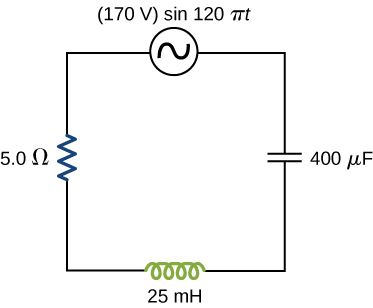Figure shows a circuit with a voltage source 170 V, sine 120 pi t, a resistor of 5 ohm, a capacitor of 400 microfarad and an inductor of 25 milihenry all connected in series.