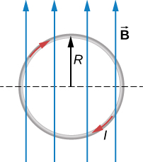 A loop of radius R is in the plane of the page. The loop carries a clockwise current I and is in a uniform magnetic field that points up the page.